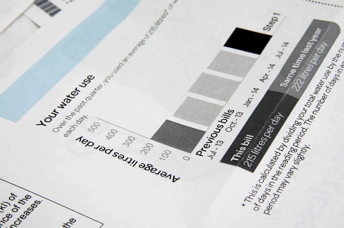 Water bill consumption and cost