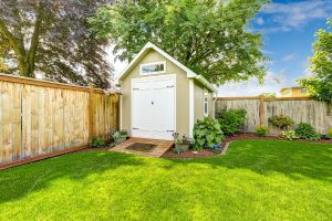 New shed with flowerbed