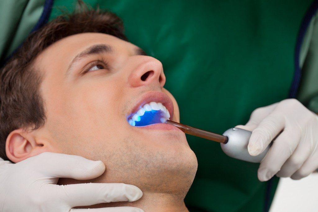 Man undergoing cosmetic dentistry