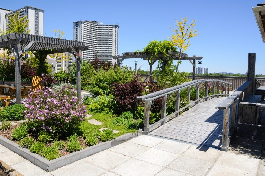 Garden beside a bridge
