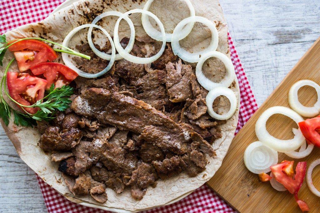 Turkish kebab on lavash