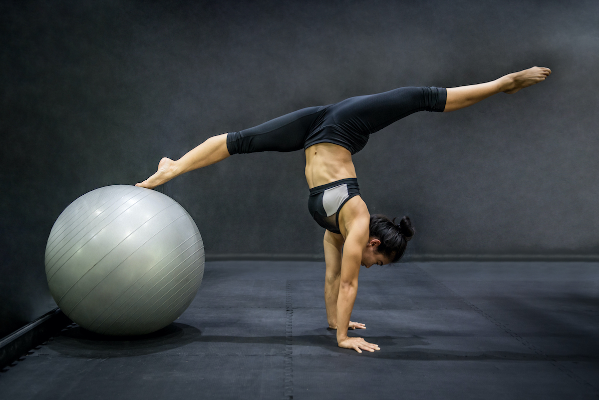 woman using an exercise ball
