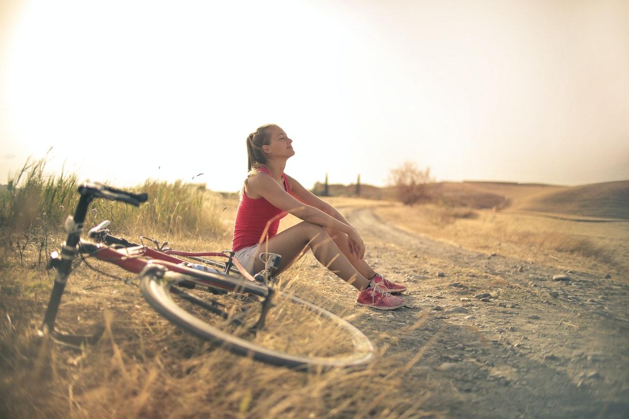 woman biking